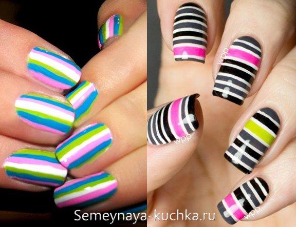 цветные полоски на ярких ногтях