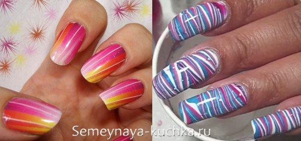 яркие ногти с полосками