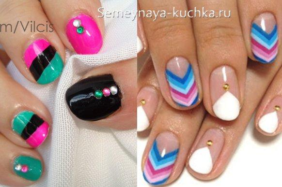 цветный ногти с яркими полосками