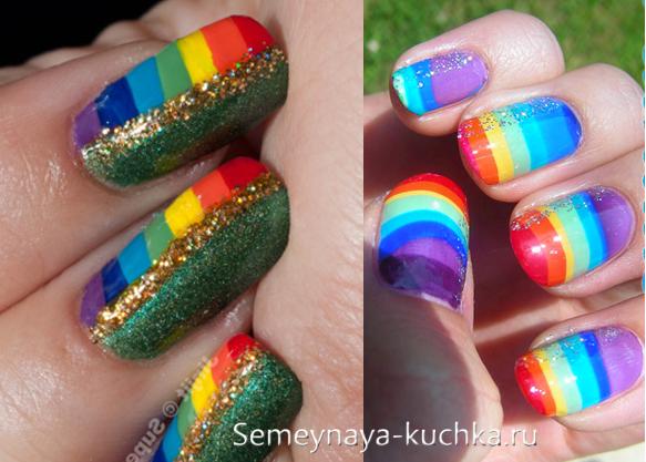 радуга полоско на ярких ногтях