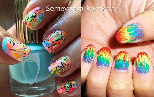 яркие брызки на цветных ногтях