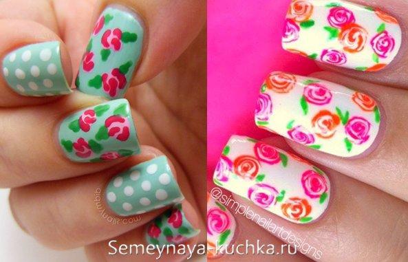 розы на ярких ногтях