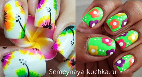 цветы на ярких ногтях