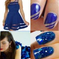 синий маникюр под платье