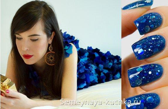 синее платье под маникюр