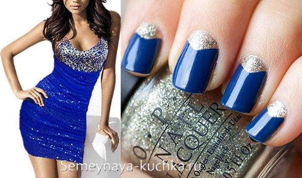 маникюр под синее платье с золотым