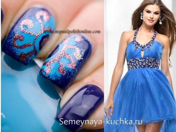 синий маникюр с рисунком под платье