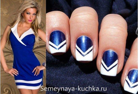 бело-синий маникюр под платье