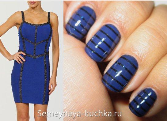 черно-синий маникюр под платье