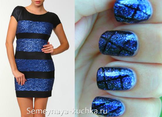 сине-черный маникюр под платье