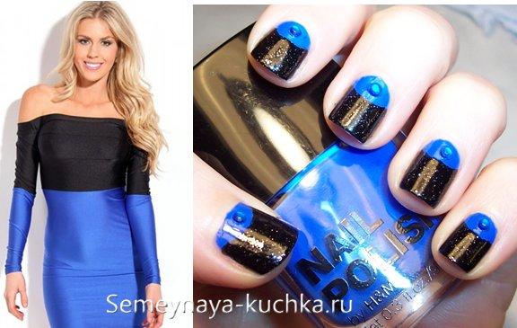 маникюр под синее платье с черным