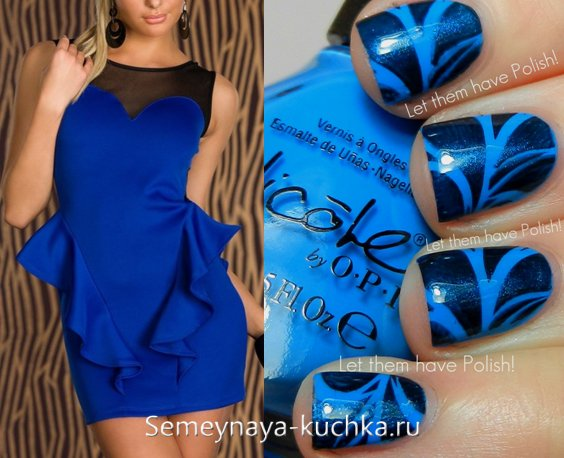 водный маникюр под синее платье