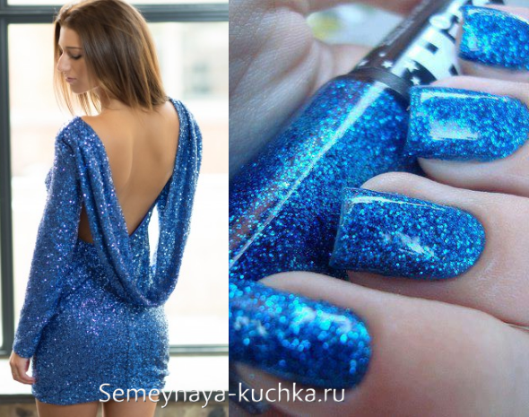 маникюр с блестками под платье