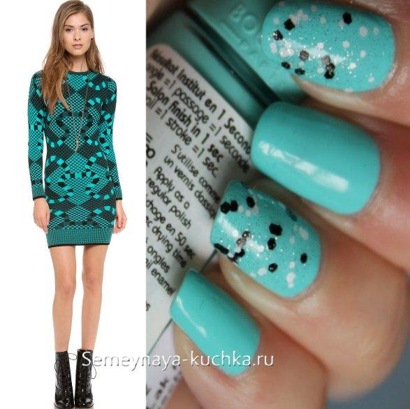 черно-бирюзовые ногти под платье