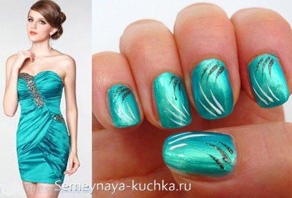 бирюзовые ногти под платье
