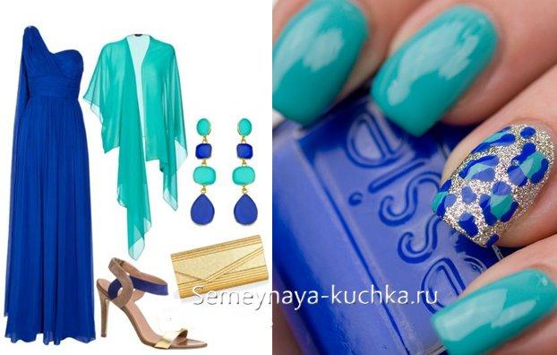 бирюзовый маникюр под синее платье