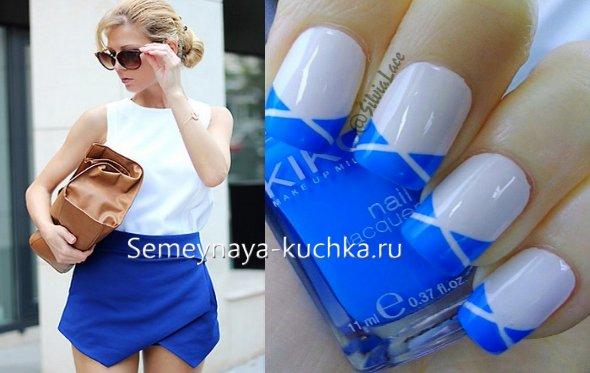 ногти под синее платье