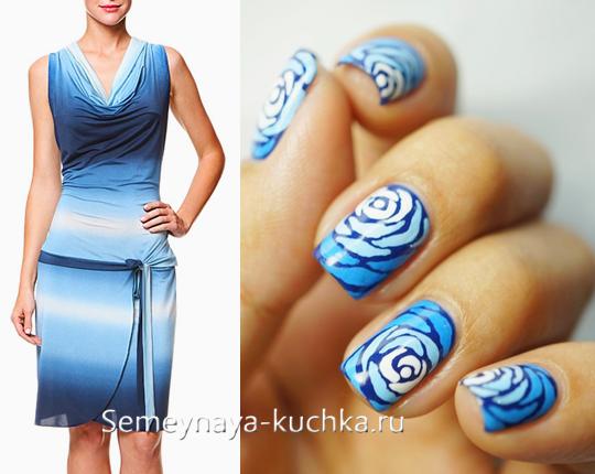 маникюр к синему платью с градиентом