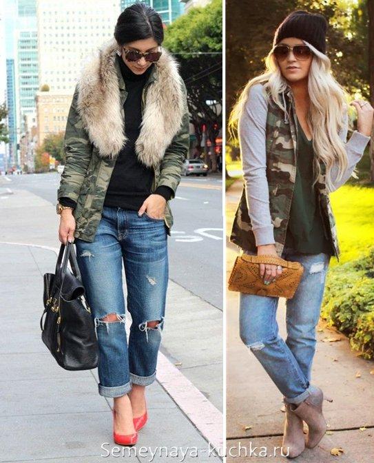 куртка милитари и джинсы