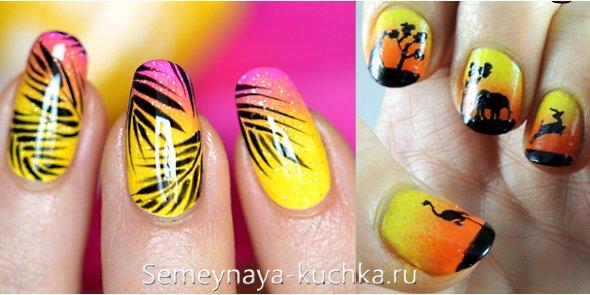 пальма на градиентных ногтях