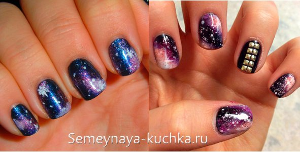 космос на ногтях