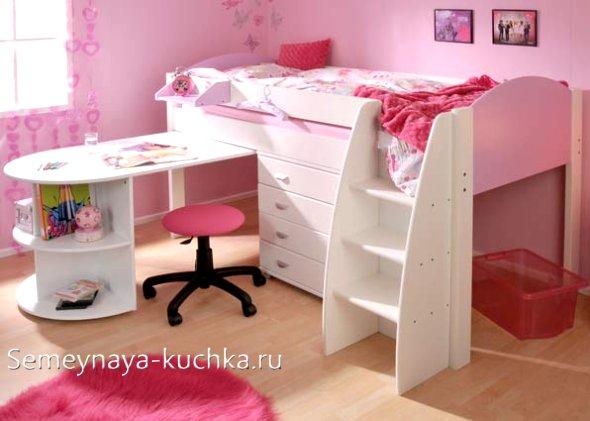 кровать тумба со столом для девочек