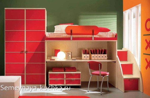 кровать чердак со столом