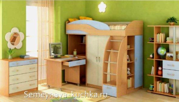 кровать чердак со столом на колесиках