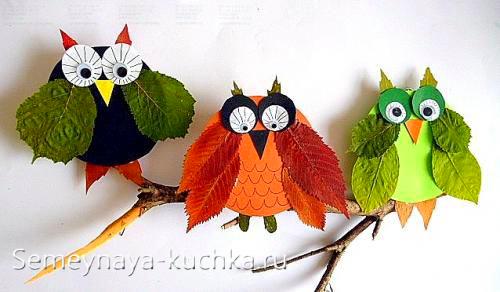 аппликация сова из осенних листьев