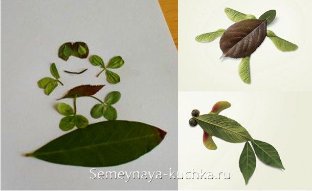 аппликация из свежих листье