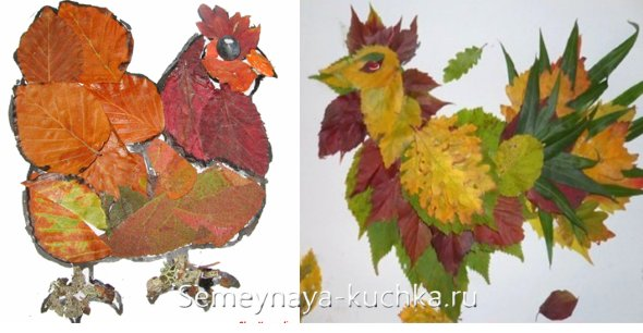 аппликация курицы и петуха из листьев