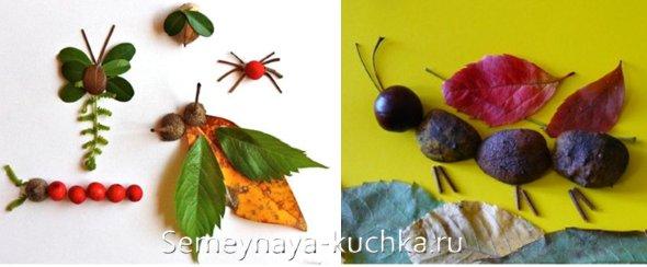 аппликация насекомых из осенних листьев