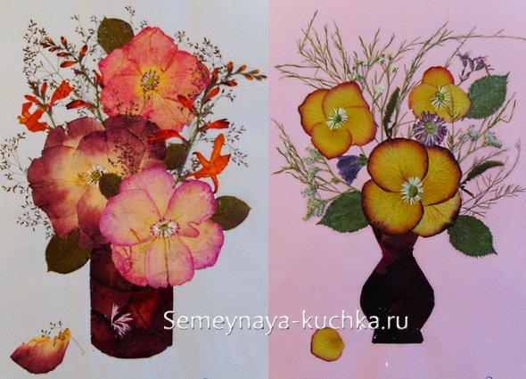 аппликации из сухих цветов