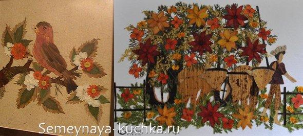 картины из сухих листьев и цветов