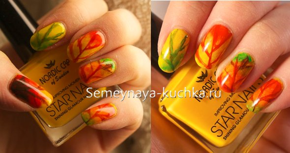 осенние листья на ногтях