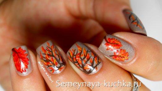 ветви осени на ногтях