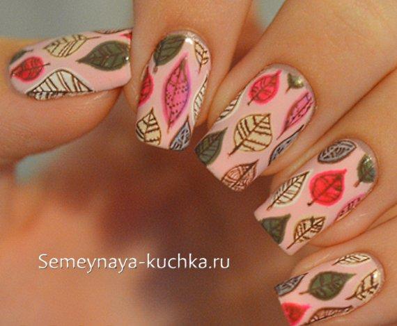 осенний розовый маникюр