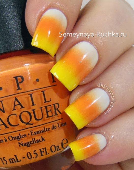 осенний оранжево желтый маникюр