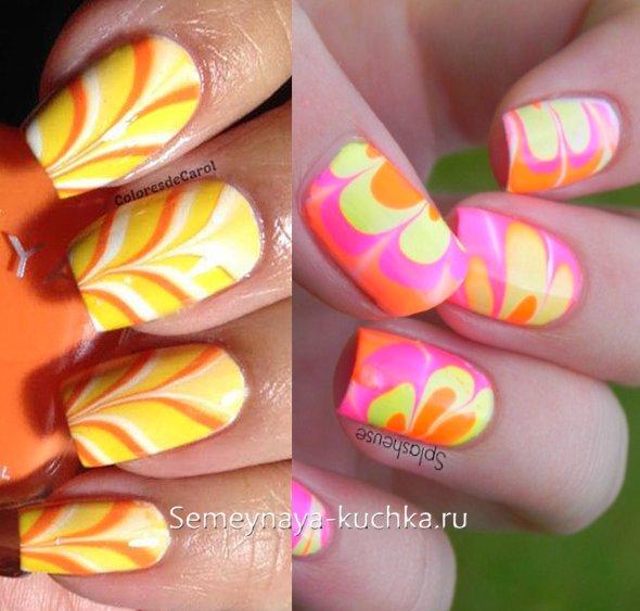 мраморный дизайн осенних ногтей