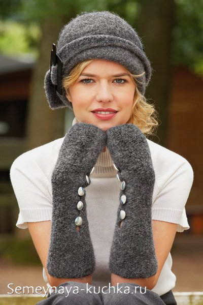 шапка зимняя с отворотом вяленая