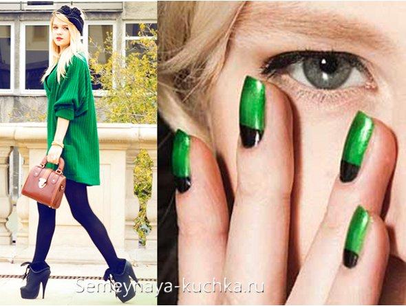 модный зеленый маникюр
