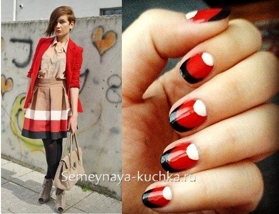 красно-черно-белый модный маникюр
