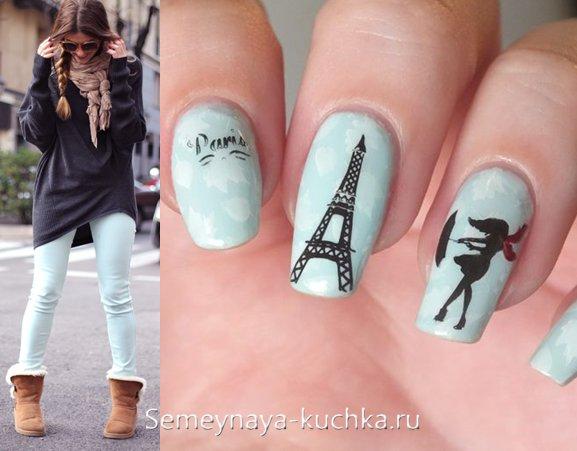 модные ногти с эйфелевой башней
