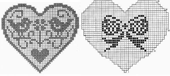 сердце крючком филейное вязание