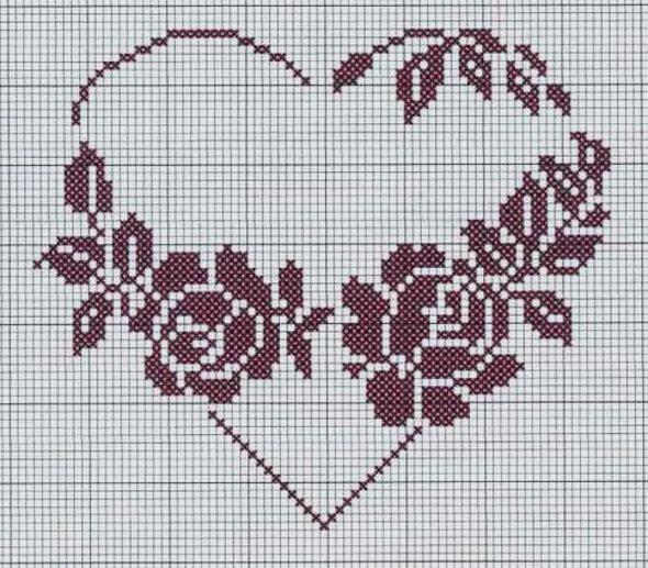 сердце крючком филейное
