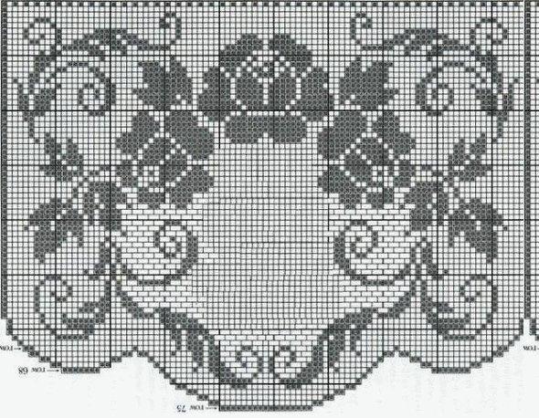 схема розы филейные крючком