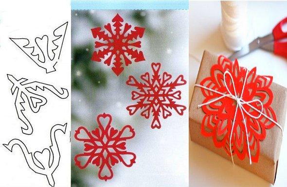 снежинка из бумаги красная