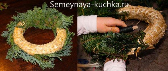как сделать венок из елки