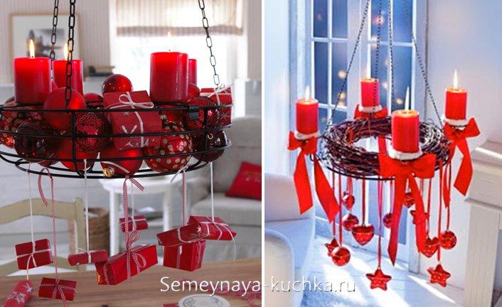 подвесные композиции на красный новый год