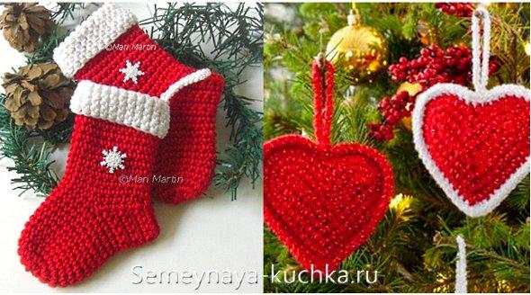 красные вязаные игрушки на елку
